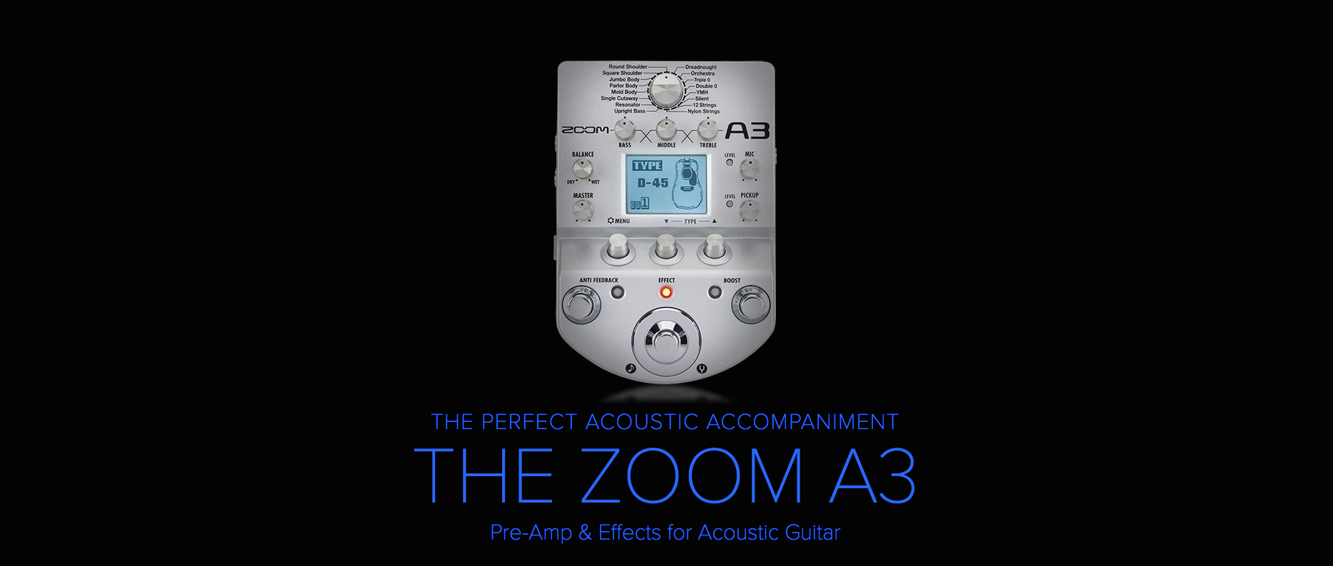 Zoom A3 Acoustic Pre-Amp & Effects