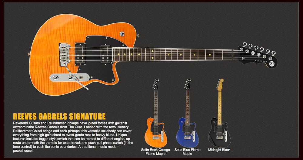Reverend, guitars, dealer, canada, reeves, gabrels, artists,