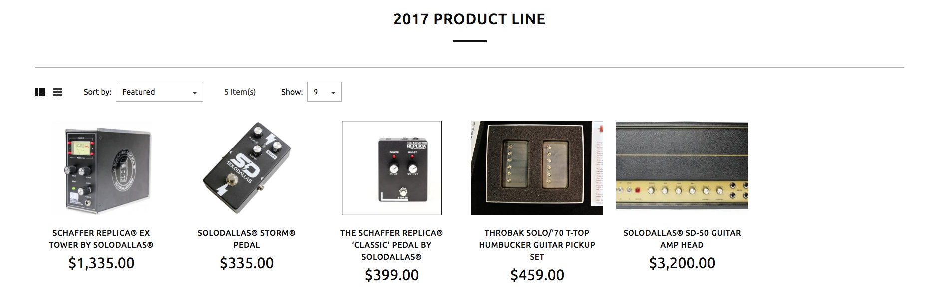 SoloDallas 2017 Product Line