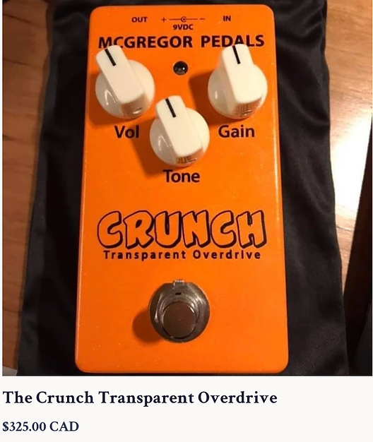 McGregor Crunch Transparent Overdrive 325.00 CDN