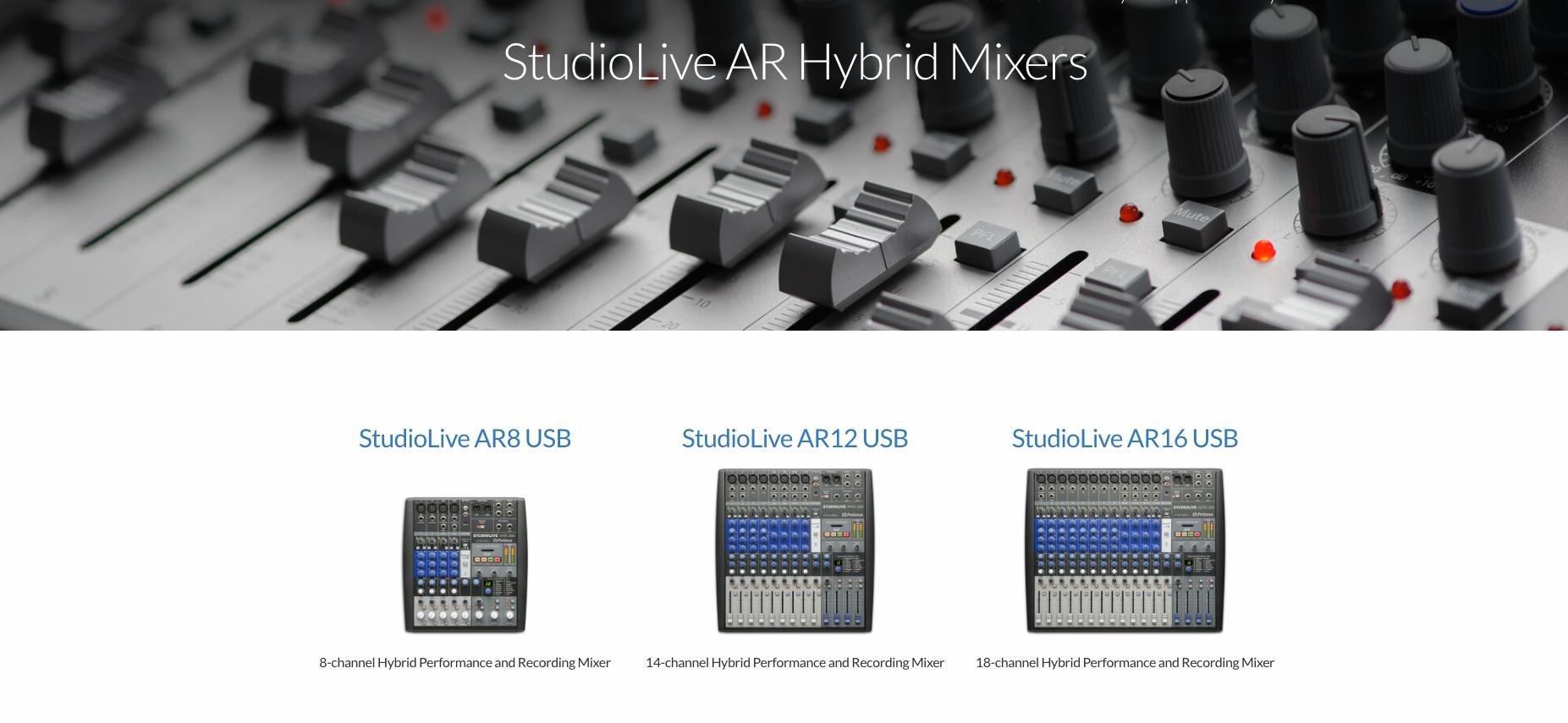 StudioLIve AR Hybrid Mixers