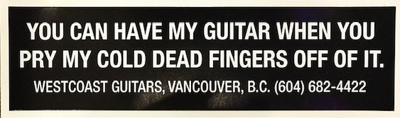 westcoast guitars bumper sticker reissued popular collectible guitar store canada vancouver