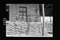 military sand bag barricade at Lydde RR