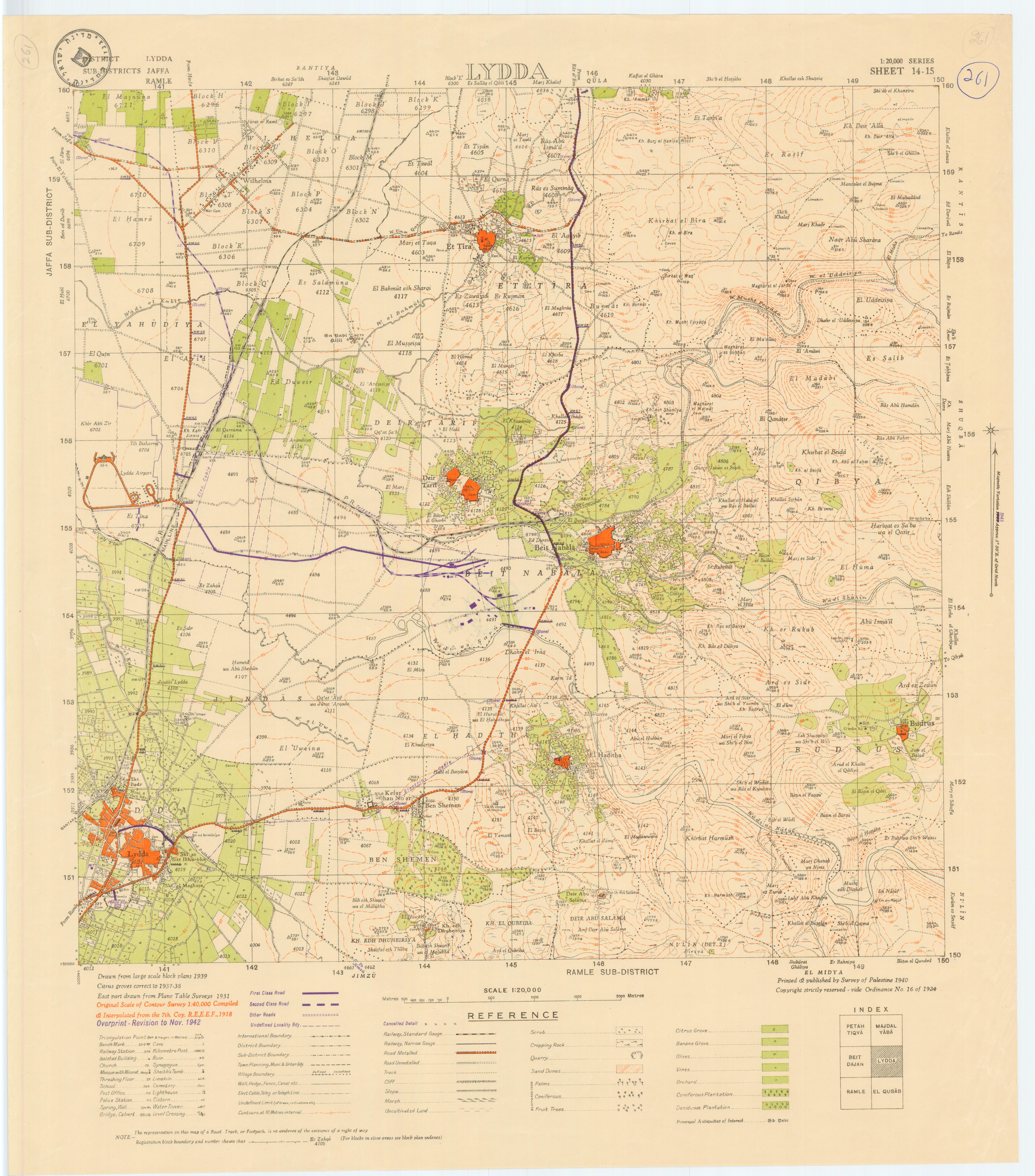 מפת פלסטין- lydda district jaffa- sub-di