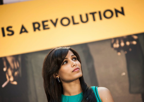 Freida Pinto attends the DC Premier of GIRL RISING at the World Bank