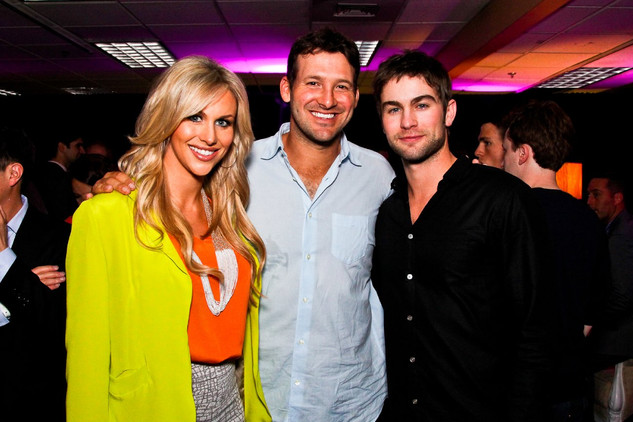 Candice Crawford, Tony Romo and Chace Crawford hang out at the 2012 First Amendment Party.