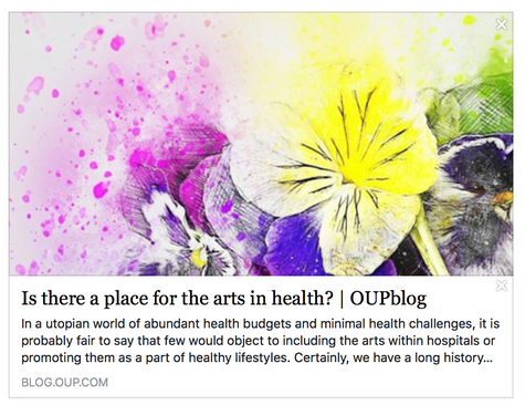 Daisy Foncourt blogs for OUP on the Value of the Arts in Health and Medicine