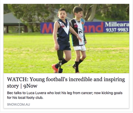A young amputee struts his stuff on the footy field