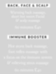 back massage, facial, express facial, scalp massage, indian head massage, foot reflexology, boost immunity, sinus massage, headache relief,