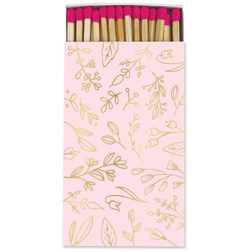 Large Match Box - Pastel Pink & Gold Foil Floral