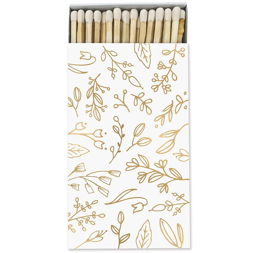 Large Match Box - White & Gold Foil Floral