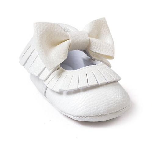 Bowknot Baby Girl Mocs -  White