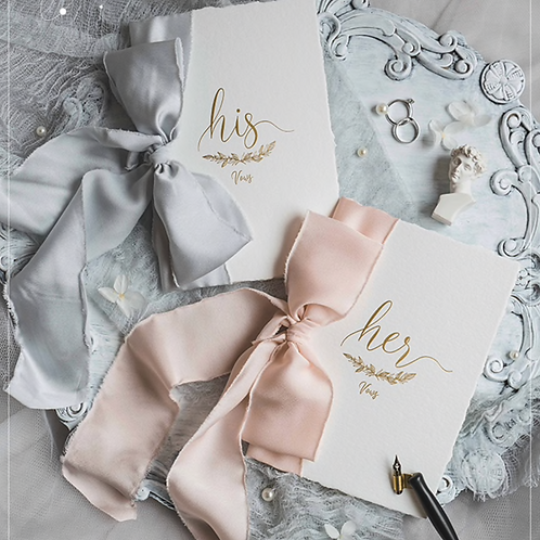 His & Her Vows Cards ft. Satin Chiffon Ribbon