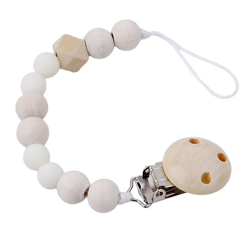 Teething Pacifier Clip - White