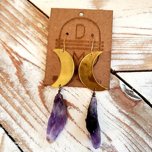 Daisy Metalworks - Amethyst Moon Earrings