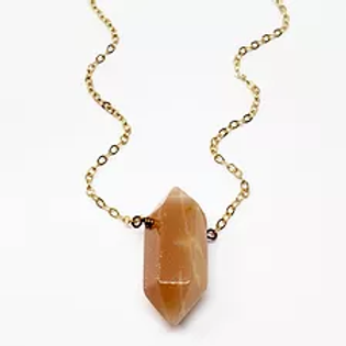 Daisy Metalworks - Peach Moonstone Necklace