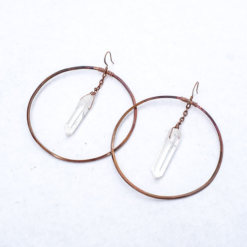 Daisy Metalworks - Clear Quartz Hoops