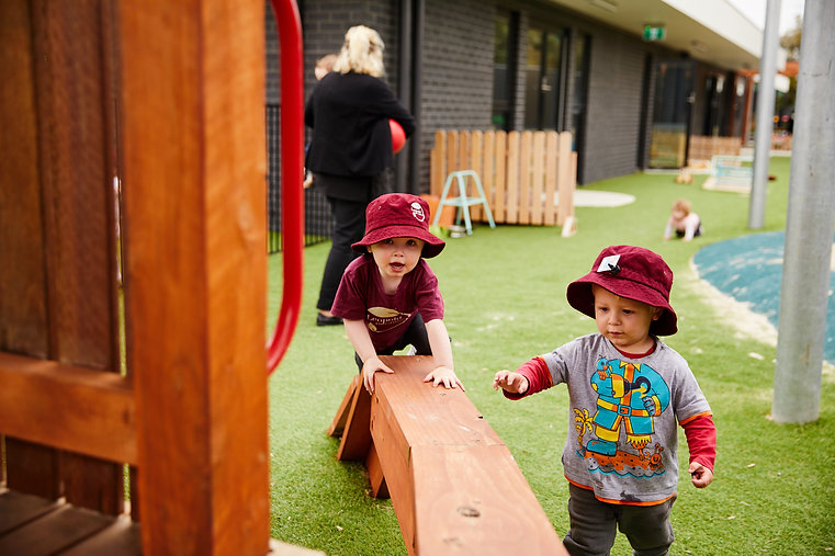 Toddlers at Leopold Early Learning Centre enjoying the outdoor play equipment