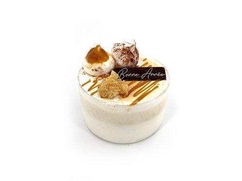 Vanille-Caramel beurre salé avec des éclats de nougatine, meringue ital
