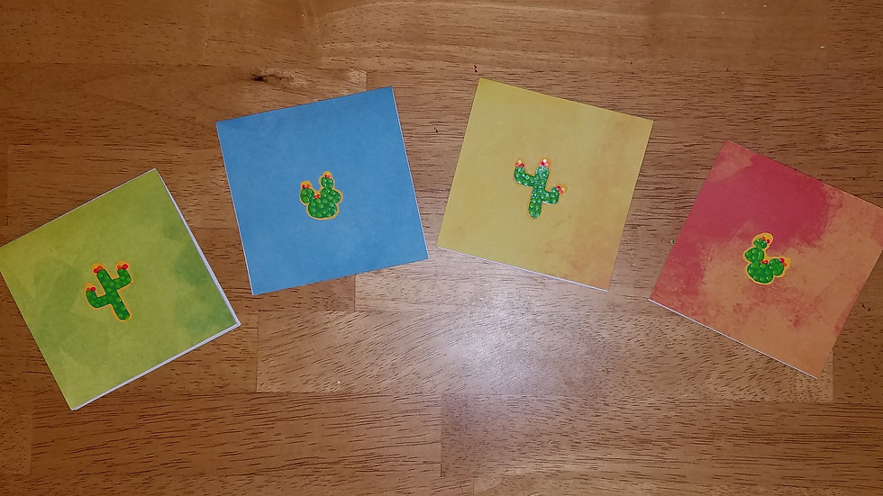 Colorful Cactii Notecards (4-pack)