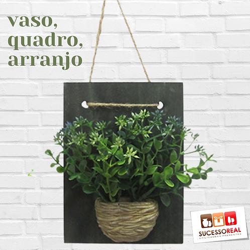 Quadro decorativo com vaso e planta artificial IM4610