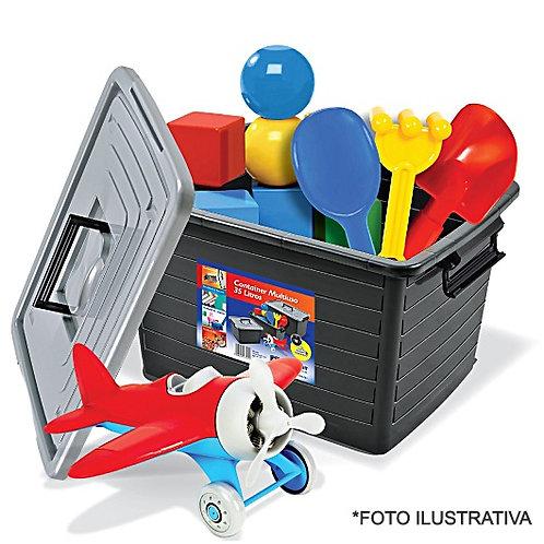 Container Preta C/Rodas 35Lts 25166 Arqplast