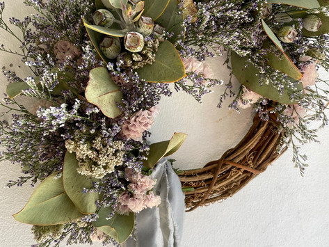 APRIL LESSON; original class' Limonium wreath'