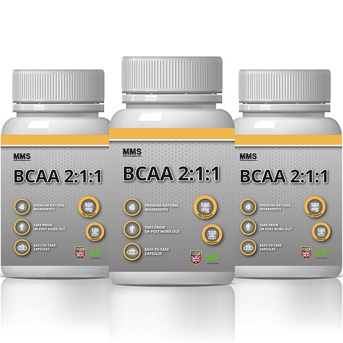 3 X BCAA 500MG Capsules Amino Acids Protein Muscle Strength & Power