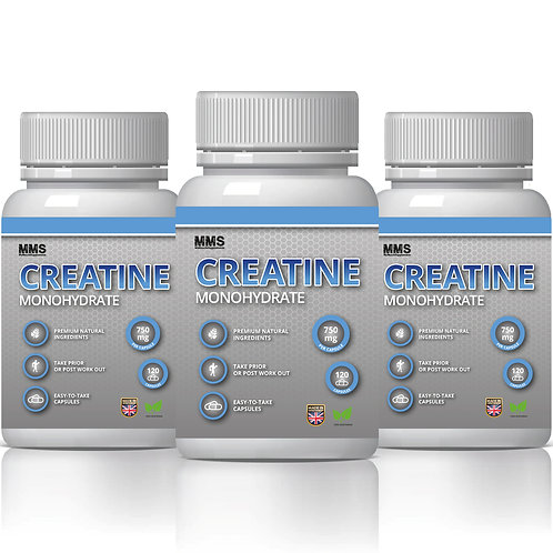 3 X Creatine Monohydrate 750 Mg  120x Capsules Muscle Gain Strength Boos