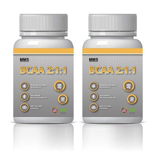 2 x BCAA 2:1:1 500mg Amino Acids Protein Muscle Strength & Power