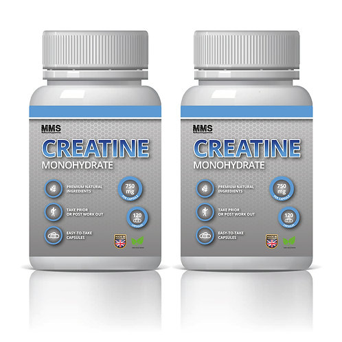 2 x Creatine Monohydrate 750 mg Muscle Gain Strength Booster