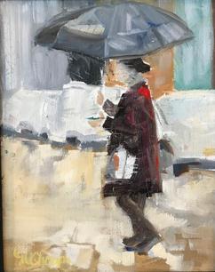 Woman with Umbrella by Mindy Choppa