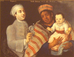 A-painting-of-a-Spanish-man-and-a-Peruvian-indigenous-woman-with-Mestizo-child-1770