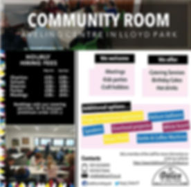 Community Room, Aveling  Centre, Le Délice In The Park, Events,  Birthdays, Parties, Meetings, Classes, 50 people capacity, equipped withprojector,whiteboard, plugs, speakers, water  point, boilingkettle, chairs, tables