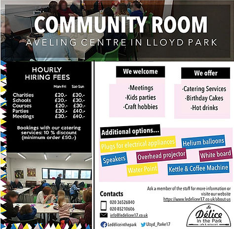 Community Room, Aveling  Centre, Le Délice In The Park, Events,  Birthdays, Parties, Meetings, Classes, 50 people capacity, equipped with projector, whiteboard, plugs, speakers, water  point, boiling kettle, chairs, tables
