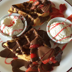 waffles with ice creams