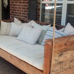 Reclaimed wood bed swing. A southern staple