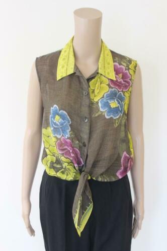 Maryan Melhorn - bonte zijden blouse, maat 38/maat 40