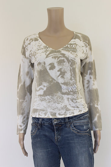 Beige/roomwit t-shirt, maat 36/maat 38