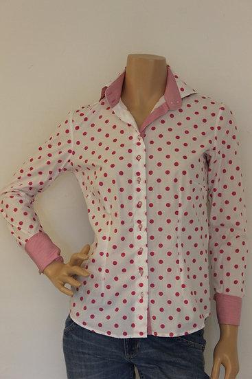 R2 Westbrook - Roze/wit gestipte blouse, maat 38