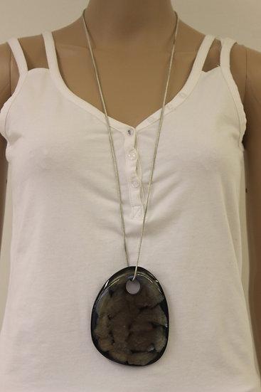 Zilverkleurige ketting met grijs/antraciet hanger