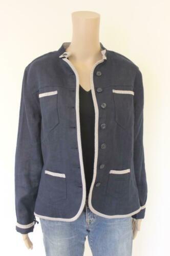 Scarva donkerblauw linnen jasje maat 38
