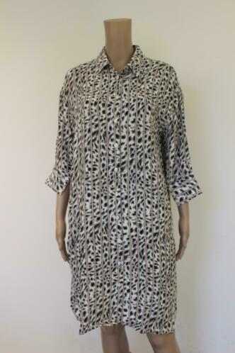 Alix - wit/beige/bruin/grijs/zwarte jurk, maat M (maat 38-40)