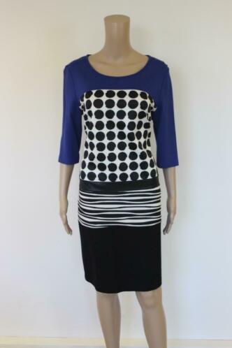 Dresses Unlimited blauw/zwart/witte jurk maat 40