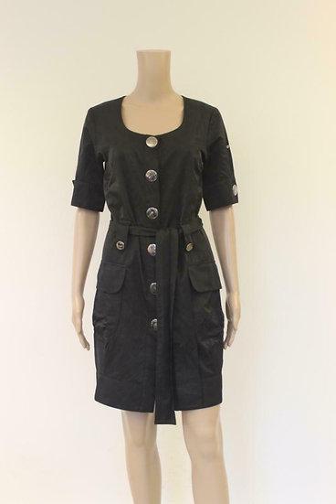 AirField - Zwarte jurk met zilveren knopen, maat 36