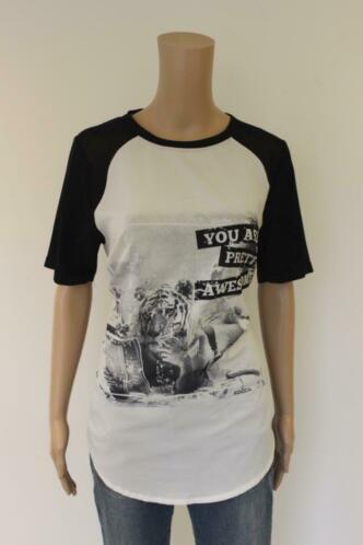 Kocca - zwart-wit t-shirt, maat L (maat 40/maat 42)