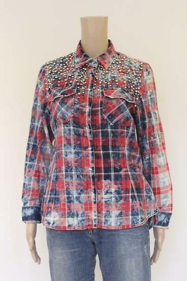 Dishe rood/blauwe blouse maat L (maat 38)