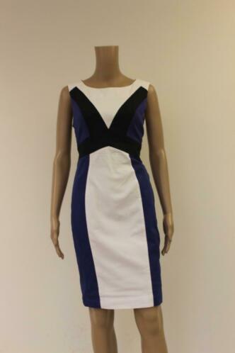 Mariella Rosati - blauw/zwart/witte jurk, maat 38
