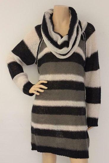 Anna van Toor - Donkerblauw/wit/grijze jurk, maat 46