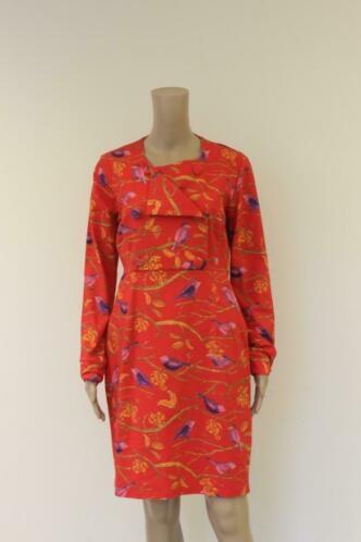 Lien & Giel - rode jurk met vogels, maat L